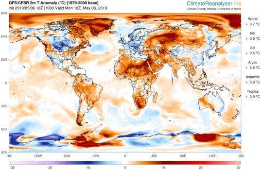 La mappa delle anomalie termiche di Climate Reanalyzer