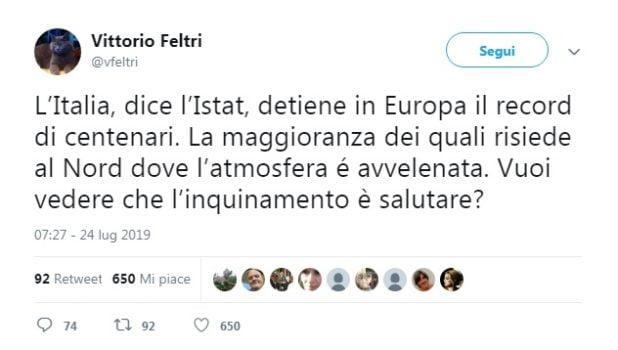 Il tweet di Feltri
