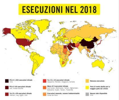Pena di morte: esecuzioni nel 2018