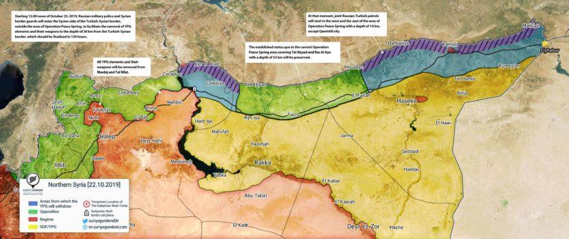 Guerra in Siria mappa Putin Erdogan