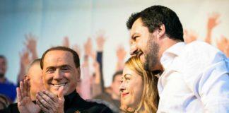 Meloni, Salvini, Berlusconi alla manifestazione di Roma centrodestra