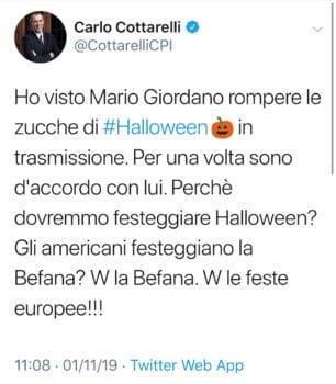 Tweet Cottarelli per Mario Giordano