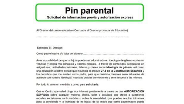 Il Pin Parental proposto da Vox