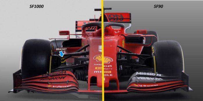 Confronto frontale tra la Ferrari SF90 e la SF1000. Si nota subito la diversa altezza a cui è collocato l'alettone posteriore, oltre che la diversa geometria dei bargeboards.