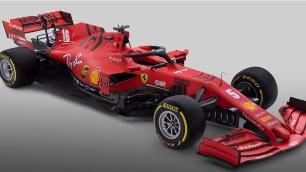 La nuova SF1000 di casa Ferrari vista di tre quarti. Appare evidente lo sforzo costruttivo fatto per rastremare il retrovettura e allargare la superficie utile del fondo vettura.