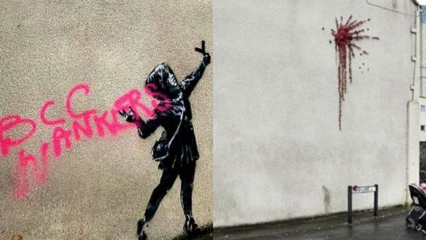 Il Cupido di Banksy vandalizzato