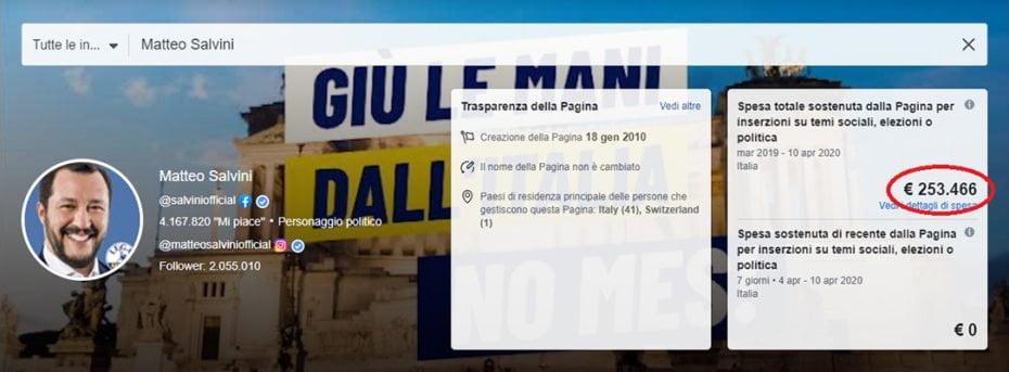 Spese Salvini Facebook