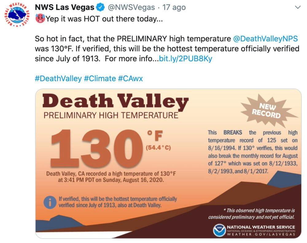 Nella Death Valley raggiunti i 54.4°C: segnali estremi di un clima impazzito